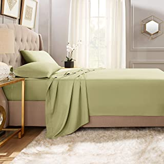 """Empyrean Bedding Premium Flat Sheet – """"110 GSM"""" Double Brushed Microfiber Extra Thick and Comfortable Flat Sheets, Luxurious & Soft Hotel Single Top Bed Sheet Hypoallergenic, King, Sage Green"""