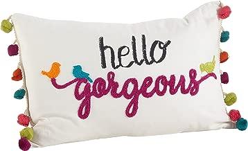 SARO LIFESTYLE Hello Gorgeous Pom Down Filled Throw Pillow (936.W1218B), 12 x 18