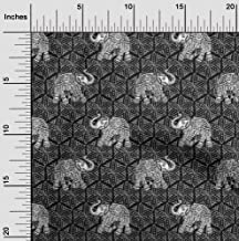 oneOone Cotton Cambric Fabric Elephant Block Printed Craft Fabric BTY 56 Inch Wide