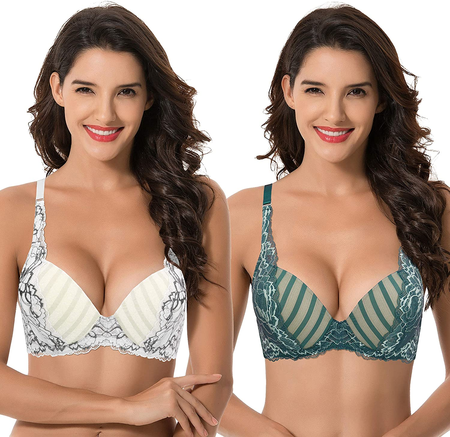 Curve Muse Women's Plus Size Add 1 Cup Push Up Underwire Lace Mesh Bra