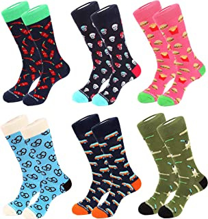 Unsimply Stitched 6 Pack Combed Cotton Novelty Men's Fashion Dress Crew Socks - 12 Pieces Total