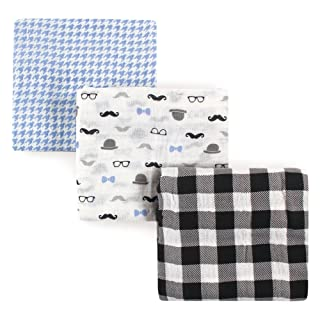 Hudson Baby Unisex Baby Muslin Swaddle Blankets, Gentleman 3 Pack, One Size