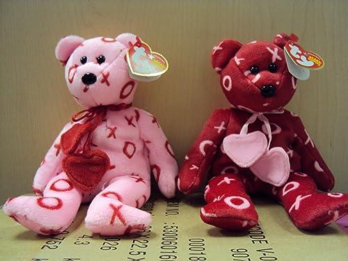 TY Beanie Babies - HUG HUG & KISS KISS the Bears ( Set of 2 - Valentine's Day Bears ) by Ty