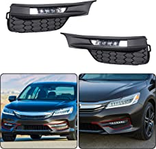 ECOTRIC High Power LED Fog Lights w/Switch, Bezel Covers & Relay Wiring Compatible With 2016 2017 Honda Accord Sedan 4Dr