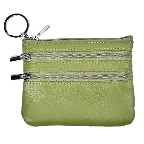 3dfcf4f2889a Outrip Womens Mini Coin Purse Wallet Genuine Leather Zipper Pouch with Key  Ring (Green)