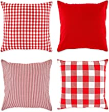 DII Gingham/Check Pillow Cover, 18x18, Assorted Red/White