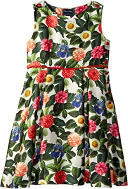 Mikado Flower Jungle Button Dress with Pleats (Toddler/Little Kids/Big Kids)