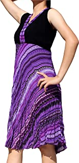 Full Funk Calf Length Ladies Crinkle Paisley Dress Hill Tribe Collar