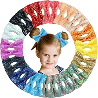 """32pcs 3"""" Pigtail Bow Clips for Girls Glitter Hair Bows 3 Inch Sparkle Sequins Bows Alligator Hair Clips For Baby Girls Tee..."""