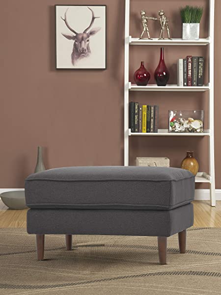 Lifestyle Solutions Mid Century Turner Upholstered Ottoman Heather Grey
