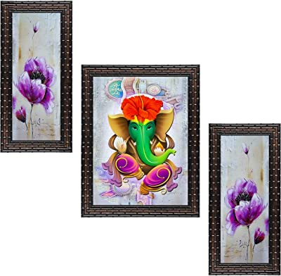 Indianara Set of 3 Lord Ganesha Framed Painting (3478GBa) without glass 6 X 13, 10.2 X 13, 6 X 13 INCH