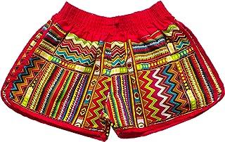 Delrosaria Women's Red Trim Elastic Waist Casual Shorts