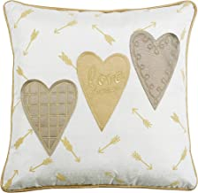 Comfy Hour 14x14 Love Forever Golden Heart Accent Pillow Throw Pillow Bright Cushion