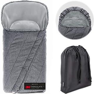 Zamboo Winter Fußsack 3M für Kinderwagen & Buggy   Winterfußsack mit warmer Thinsulate Füllung, Anti Rutsch Beschichtung, Mumien Kapuze und Tasche   Grau