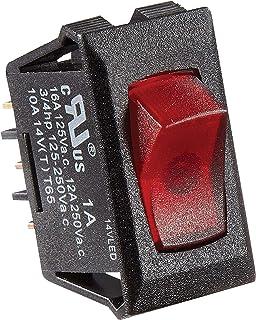 RV Designer S247, Rocker Switch, 10 Amp, Illuminated On/Off, SPST, Black w/Red, DC Electrical