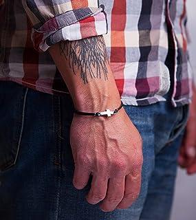 دستبند چرم مسیحی مردانه با دستبند سفارشی دستبند مینیاتور
