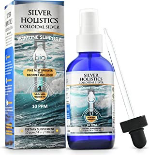 Silver Holistics | Colloidal Silver Liquid Spray | Natural Immune System Booster | Pure 10 PPM Ionic Silver Water | Daily Mineral Supplement | 4 oz. Glass Bottle with Free Dropper | Safe for Pets