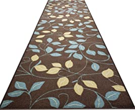 Custom Cut 31-inch Wide by 15-feet Long Runner, Brown Floral Non Slip, Non-Skid, Rubber Backed Stair, Hallway, Kitchen, Carpet Runner Rug - Choose Your Width by Length