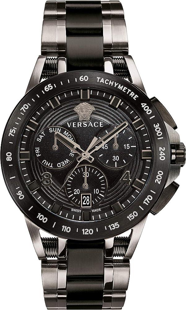 Versace,orologio, cronografo per uomo,cassa in acciaio di colore placcatura ionica nera e grigia VERB006 18