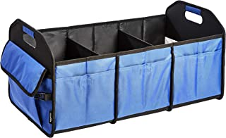 AmazonBasics Collapsible Portable Multi-Compartment Heavy Duty Cargo Trunk Organizer - Blue