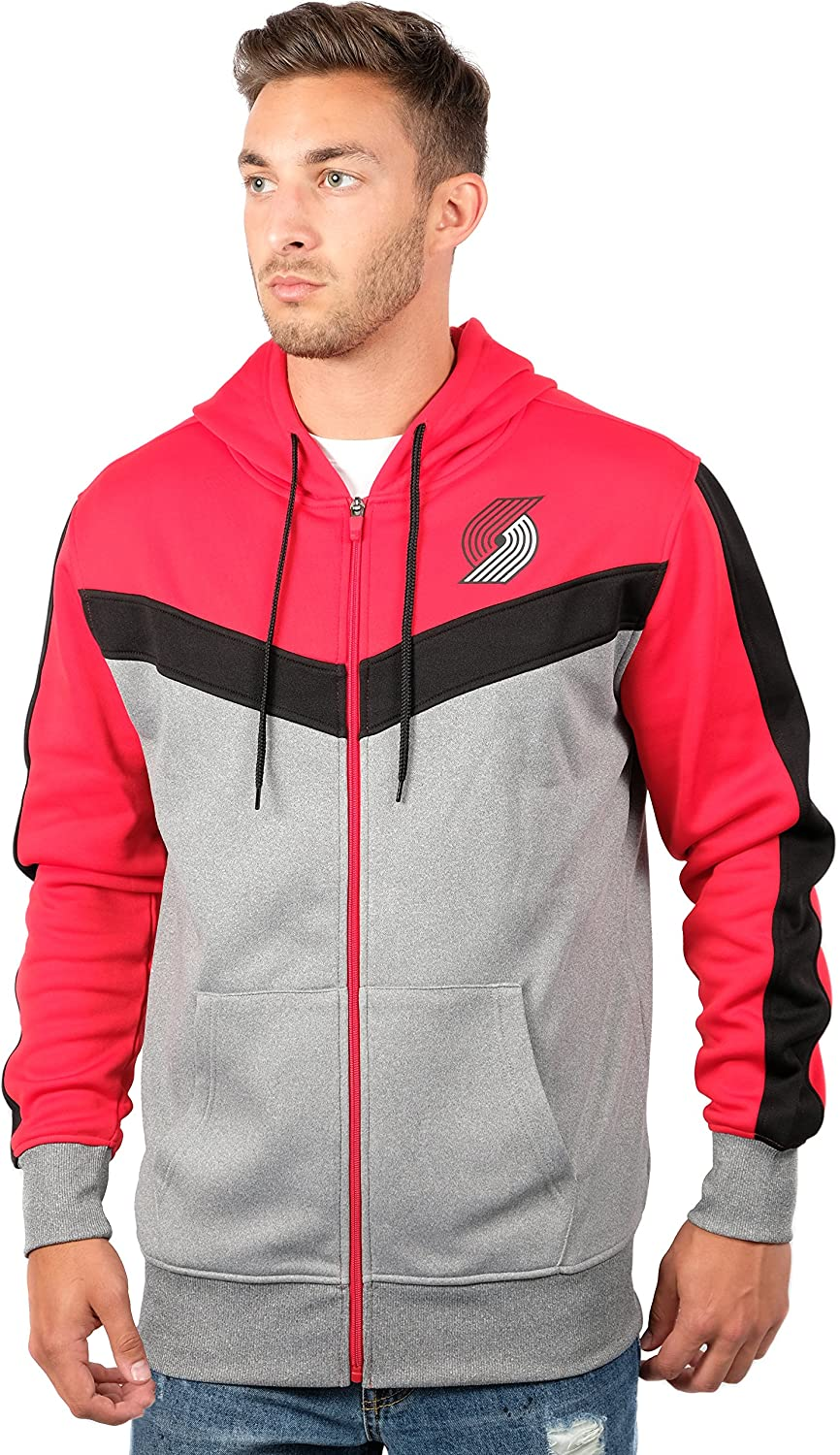 Unk NBA GZM2948F NBA Men's Back Cut Team color Contrast Full Zip Hoodie, Red, Large