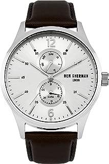 WB047BR Mens Spitalfields Vinyl Brown Leather Strap Watch