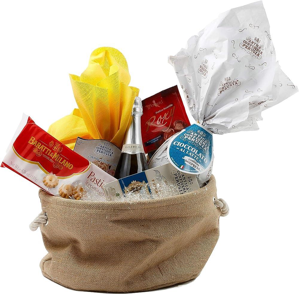 Speciale italia,cesto pasquale alimentare,confezione regalo con prodotti artigianali, 6 pezzi, piu` sacco di