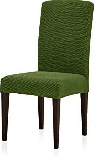 Subrtex Jacquard Dining Room Chair Slipcovers Sets Stretch Furniture Protector Covers for Armchair Removable Washable Elastic Parsons Seat Case for Restaurant Hotel Ceremony (2, Green)
