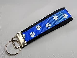 Paw Print Ribbon Wristlet Key Fob Keychain Royal Blue