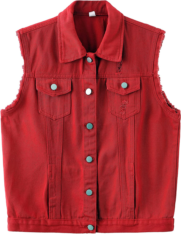 ZLSLZ Womens Cute Sleeveless Distressed Slim Fit Denim Jean Crop Jacket Vest