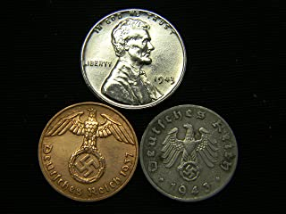 AU 1943 Steel Cent + Nazi Coin WW2 3rd Reich German US Lot