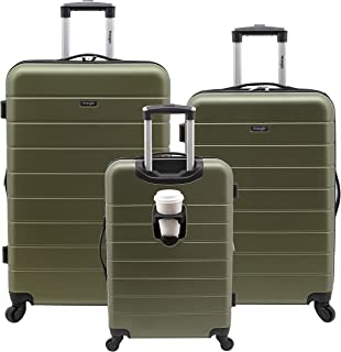 Smart Luggage Set with Cup Holder and USB Port, Olive...