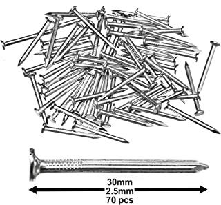 Pack of 70 Hardened Ribbed Steel Masonry Nails 2.5x30mm (1x1-3/16in) for Brick, Blocks, Skirting Boards, Battens and All Other Masonry
