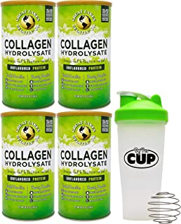 Great Lakes Gelatin, 4 Pk Collagen Hydrolysate 16 - Ounce Cans and by The Cup Shaker Combo