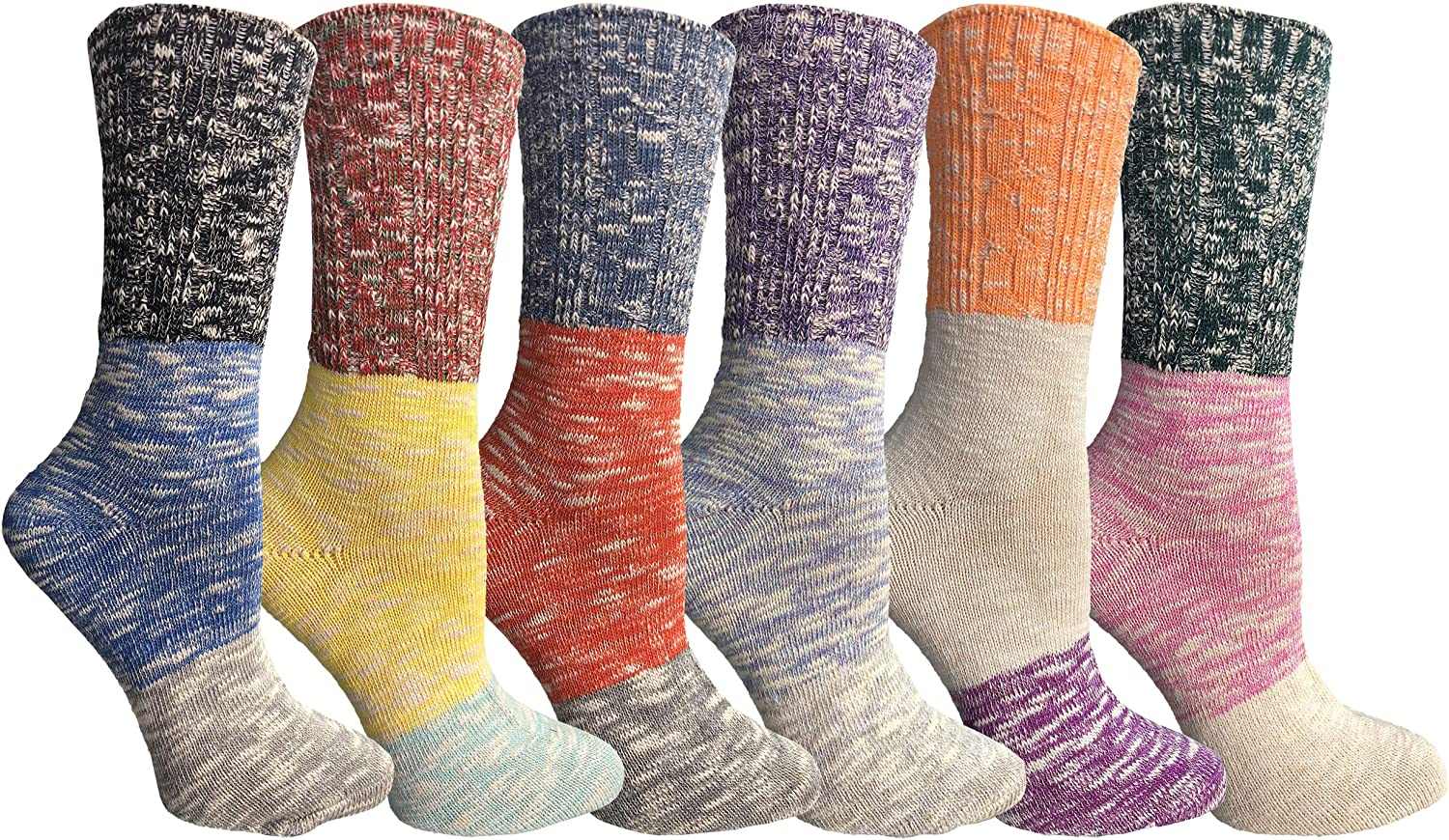 Yacht & Smith Value Pack of Women's Wool Socks, Heavy Comfort Knit Ribbed Hiking Sock (6 Pack I)