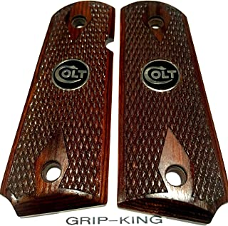 1911 COMPACT GRIPS.SALE $41.73.FITS 3-4 INCH BARREL COLT OFFICERS,DEFENDERS. MADE IN U.S.A. RARE BURLED COCOBOLO WOOD WITH DIAMONDS & SNAKESKIN PATTERN CHECKERING. BLACK & SILVER COLT MEDALLIONS .