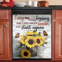 """MLGB Dishwasher Magnet Cover Decorative Dishwasher Covers for The Front """"Every Day is A New Beginning Magnetic Dishwasher ..."""