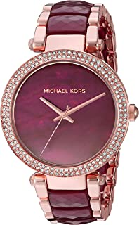 Michael Kors Parker Women's Red Dial Stainless Steel Band Watch - MK6412