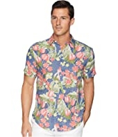 Hawaiian Print Linen Blend Shirt