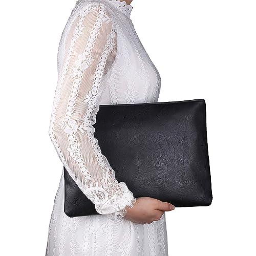 5881c9b23d0 Aladin Oversized Clutch Bag Purse, Womens Large leather Evening Wristlet  Handbag