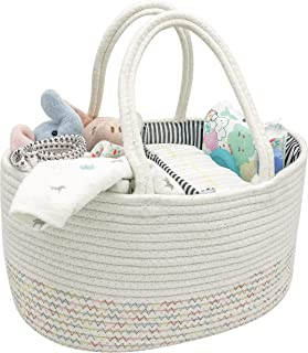 LifeSmiles Baby Diaper Caddy Organizer - Cotton Rope Basket, Baby Basket for Baby Shower Gifts, Baby Registry Essentials