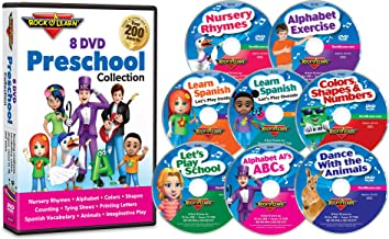 Preschool 8 by Rock 'N Learn Nursery Rhymes, Alphabet Exercise, Colors, Shapes & Numbers, Let's Play School, Dance with the Animals, Alphabet AI's ABCs, Learn Spanish - Let's Play Outside and Learn Spanish - Let's Play Inside