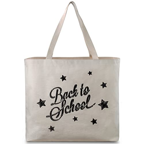4b675881d2 Reusable Canvas Bag - Tote Bag with Printed School Theme. Double Stitched  with Sturdy Shoulder