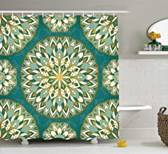 Ambesonne Turquoise Decor Collection, Round Ethnic Pattern with Emerald Mandala Elements Eastern Oriental Artful Design, Polyester Fabric Bathroom Shower Curtain, 75 Inches Long, Teal White Gold
