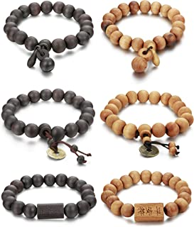 FIBO STEEL 6Pcs 11mm Wood Beaded Bracelet for Men Buddha Bracelet Elastic