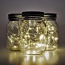 Gadgy Solar Jar Fairy Lights set 3st. | 3 Glazen potten met 20 warmwitte LED's | solar tuinverlichting op zonne energie | ...