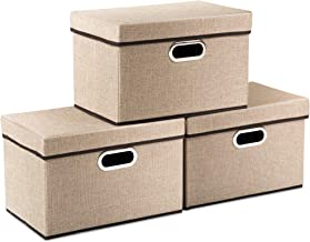 Prandom Collapsible Storage Cubes with Lids [3-Pack] Jute Fabric Foldable Storage Boxes Organizer Containers Baskets Bins ...