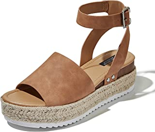 DailyShoes Women's Casual Espadrilles Trim Rubber Sole Flatform Studded Wedge Buckle Ankle Strap Open Toe Sandals