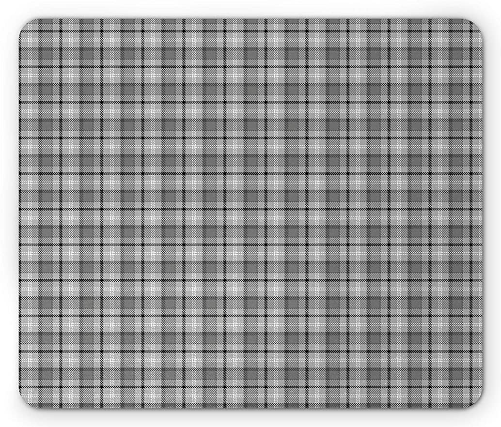 Plaid Mouse Pad, Grunge Looking British Tartan Abstract Geometrical and Symmetrical, Standard Size Rectangle Non-Slip Rubber Mousepad, Pale Sage Green Grey White