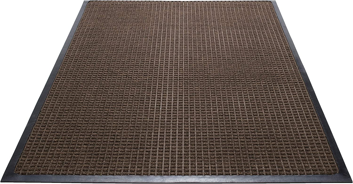 Guardian WaterGuard Indoor Outdoor Wiper Scraper Floor Mat, Rubber Nylon, 4'x6', Brown